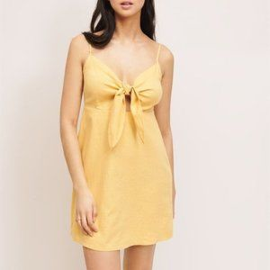 Dynamite Lily Linen Tie Front Summer Dress